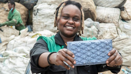 bricks made from plastic waste